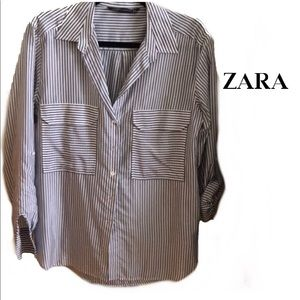Zara Light Weight Stripped Long Sleeve Top Size XS